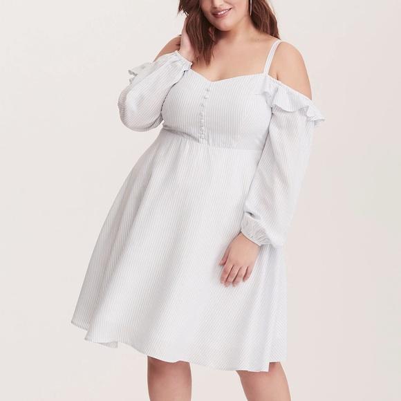 79bb592deeb Torrid Striped Cold Shoulder Challis Dress NWT
